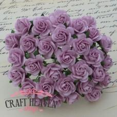 Lilac Mulberry Paper Open Roses - 20mm