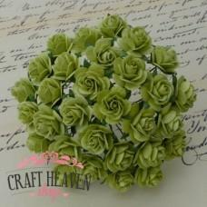 Lime Green Mulberry Paper Open Roses - 10mm