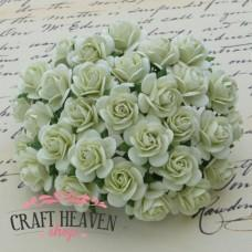 Mint Green Mulberry Paper Open Roses - 20mm