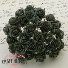 Olive Green Mulberry Paper Open Roses - 10mm