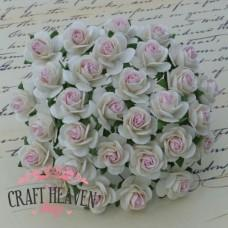 2-Tone White With Baby Pink Centre Mulberry Paper Open Roses - 10mm