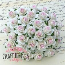 2-Tone White With Baby Pink Centre Mulberry Paper Open Roses - 20mm