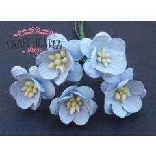 Baby Blue Mulberry Paper Cherry Blossoms - 25mm