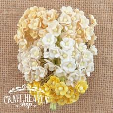 Miniature Mixed White/Cream Mulberry Paper Sweetheart Blossoms - 10mm