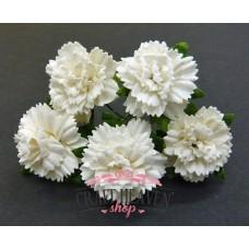 Off-White Mulberry Paper Carnation Flowers - 25mm