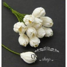 White Mulberry Paper Tulip Flowers - 10mm