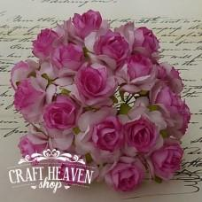 Pink With Deep Pink Centre Mulberry Paper Wild Roses - 30mm