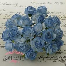 2-Tone Blue Mulberry Paper Wild Roses - 30mm