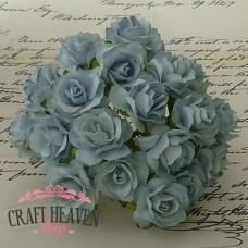 Pale Blue Mulberry Paper Wild Roses - 30mm