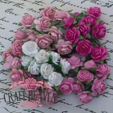 Mixed Pink Tone Mulberry Paper Open Roses - 15mm
