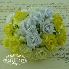 Mixed White/Cream Mulberry Paper Wild Roses - 30mm