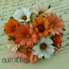 Mixed Peach/Orange/White Mulberry Paper Chrysanthemums - 45mm