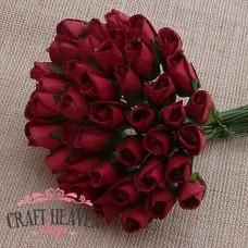 Deep Red Mulberry Paper Rosebuds - 8mm