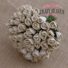 Ivory Mulberry Paper Rosebuds - 8mm
