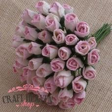 2-Tone Baby Pink/Ivory Mulberry Paper Rosebuds - 4mm