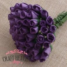 Purple Mulberry Paper Rosebuds - 8mm