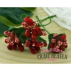 Red Bead Berry Spray Clusters