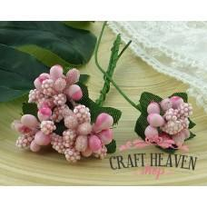 Baby Pink Bead Berry Spray Clusters