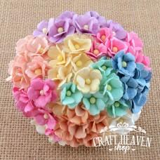 Mixed Pastel Mulberry Paper Sweetheart Blossoms - 15mm