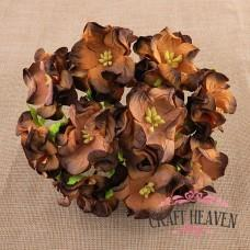 2-Tone Chocolate Brown Gardenia Flowers - 35mm