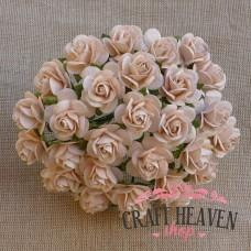 Pale Peach Mulberry Paper Open Roses - 15mm