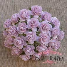 Pink Mist Mulberry Paper Open Roses - 20mm
