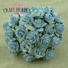 2-Tone Antique Blue Mulberry Paper Open Roses - 15mm