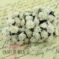 Ivory Mulberry Paper Aster Daisy Stem Flowers - 15mm