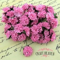 Pink Mulberry Paper Aster Daisy Stem Flowers - 15mm