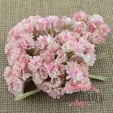 2-Tone Baby Pink/White Mulberry Paper Gypsophila Flowers - 10mm