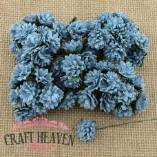 Baby Blue Mulberry Paper Aster Daisy Stem Flowers - 15mm