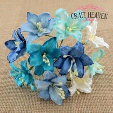 Mixed Blue and White Mulberry Paper Lily Flowers - 30mm