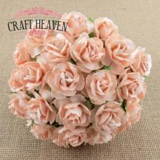 Pale Peach Mulberry Paper Wild Roses - 30mm