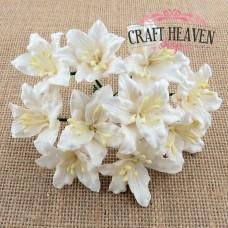 Big White Mulberry Paper Lily Flowers - 30mm