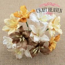 Mixed Earth Tone Mulberry Paper Lily Flowers - 30mm