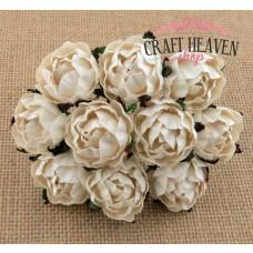 Ivory English Mulberry Paper Roses - 30mm