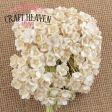Miniature Ivory Mulberry Paper Sweetheart Blossoms - 10mm