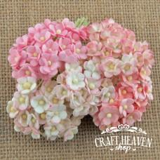 Miniature Mixed Pink Mulberry Paper Sweetheart Blossoms - 10mm