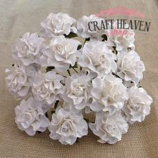 White Tuscany Mulberry Paper Roses - 30mm