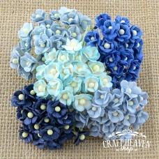 Miniature Mixed Blue Mulberry Paper Sweetheart Blossoms - 10mm