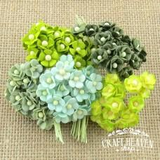 Miniature Mixed Green Mulberry Paper Sweetheart Blossoms - 10mm