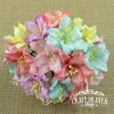 Mixed Pastel Colour Mulberry Paper Lily Flowers - 30mm