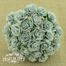 Silver Grey Mulberry Paper Open Roses - 20mm