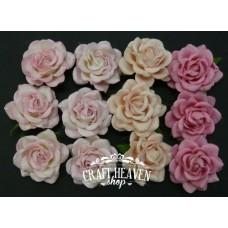Mixed Pink Tone Mulberry Paper Trellis Roses - 35mm