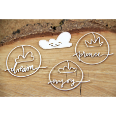 Clouded Hearts - Prince - Chipboard Set - Scrapiniec