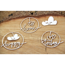 Clouded Hearts - Happy - Chipboard Set - Scrapiniec