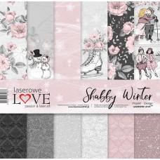 Set papirjev - Shabby Winter - 30,5 x 30,5 cm - Laserowe LOVE