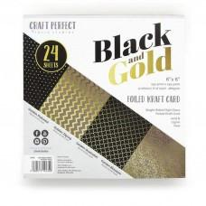 Blok Papirjev - Craft Perfect - 6x6 Foiled Kraft - Black & Gold - Tonic Studios