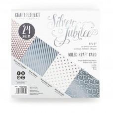 Blok Papirjev - Craft Perfect - 6x6 Foiled Kraft - Silver Jubilee - Tonic Studios
