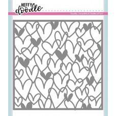 Plastična šablona - Scribble On My Heart Stencil - Heffy Doodle